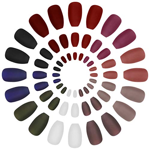 Firtink 240Pcs Matte Coffin Fake Nails, Short Fake Nails Acrylic Stick on Nails Ballerina Professional Nail Art Tips Sets Nail Art Supplies Solid Color Fake Nails for Women Girls