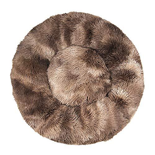 Decdeal Cama de Gato Donut Cama Redonda Felpa para Perros Cómodo Suave Segura Lavable a Máquina Duradera para Mascotas Cachorros Gatitos Tamaño 40cm 50cm 60cm 70cm