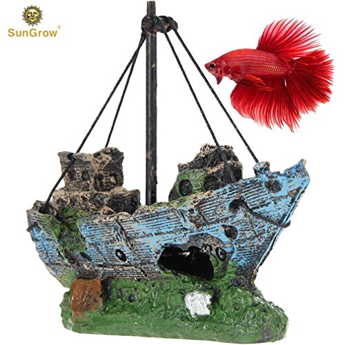 SunGrow Shipwreck for Betta Fish, Made of Resin, Creates Healthy Environment for Aquatic Pets, Boat Aquarium or Home Décor