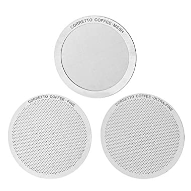 Set of 3 Pro Reusable Filters for use in AeroPress Coffee Maker - FINE, ULTRA-FINE and MESH Filter Set - Premium Grade Stainless Steel - Brewing Guide Included