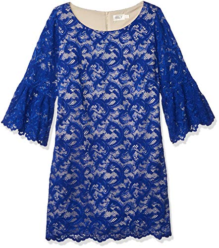 Eliza J Women's Plus Size Lace Shift Dress with Bell Sleeves, Cobalt, 18W