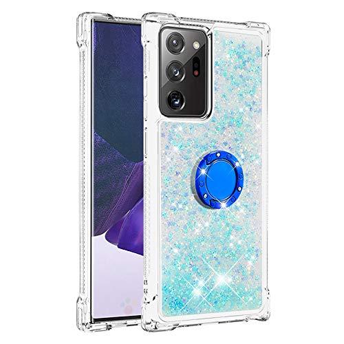 Hülle für Samsung Galaxy Note 20 Ultra 4G-5G Diamant Ring Flüssig Treibsand Silikon TPU Bumper Hülle für Samsung Galaxy Note 20 Ultra 4G-5G(Fluoreszierende grüne Sterne)