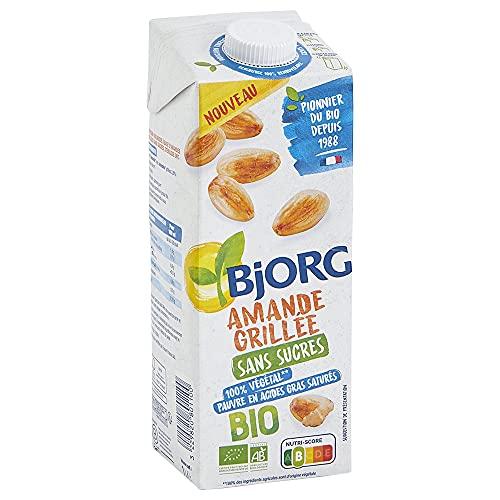 Bjorg Lait d'Amande Grillée Bio Sans Sucres – Boisson Végétale à Boire et à Cuisiner – Petit-Déjeuner et Goûter - 1 L