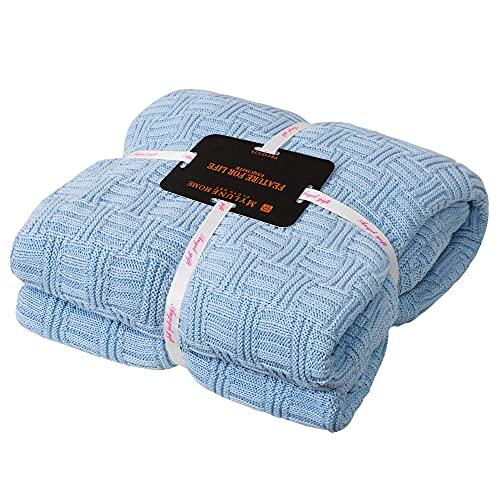 MYLUNE HOME 100prozent Baumwolle Decke Strickdecke Tagesdecke kuscheldecken für Die Ganze Saison, Baumwoll -Thermodecke, 70'' x 78''(180 x 200cm, Hellblau)