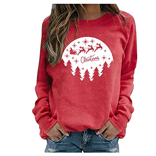 Christmas Long Sleeve Shirts Cute Blessed Sweatshirts for Women Turtleneck Knit Sweaters Casual Chunky Pullover Long Sleeve Loose Jumper Tops ouges Sweater Crop Off Shoulder top Trending Clothes