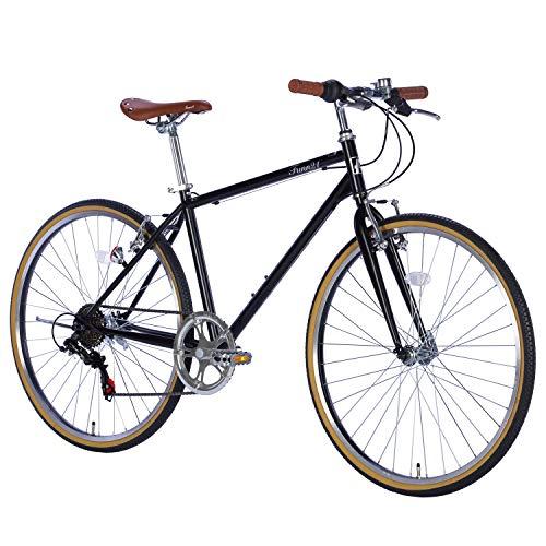 FUCL266 自転車 クロスバイク 2020新モデルシティサイクル 26インチ 本体 シマノ製6段変速 じてんしゃ シティーサイクル スポーツ 通勤 通学 新生活【FUCL266】 (マットブラック)