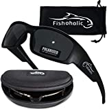 Fishoholic Polarized Fishing Sunglasses (5 Options Camo - Blue Mirror - Matte Black - Amber) Free Hard Case & Pouch UV400 100% UV Sun Protection. Great Fishing Gift. (MB-MB)