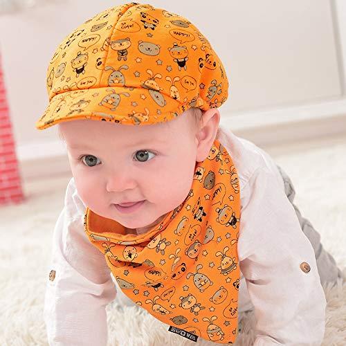 qqyz Baby Cap Jongens En Meisjes Koreaanse Kinderen Hoed Lente En Herfst Baby 3-6-12 Katoen Baseball Cap Hood Mean code (44-52) cm Oranje hoed + driehoek handdoek