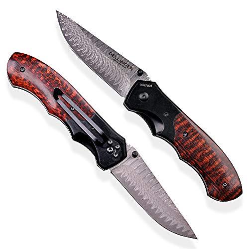 DELLINGER Damast Taschenmesser & Klappmesser & Damaststahl Messer & Outdoor Damastmesser Folder Knife 9 cm Klinge