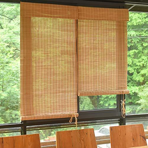 ASF15 Rollo für den Außenbereich, für Fenster, Pavillon, Balkon, Terrasse, Bambus-Jalousien mit Volant, 85 cm / 105 cm / 125 cm / 145 cm Breite, Bambus, 125 * 260CM