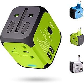 Adattatore da Viaggio con 2 USB 3.0 (US/EU/UK/AU) Adattatore Universale da Viaggio con due fusibile (fusibile di ricambio)...