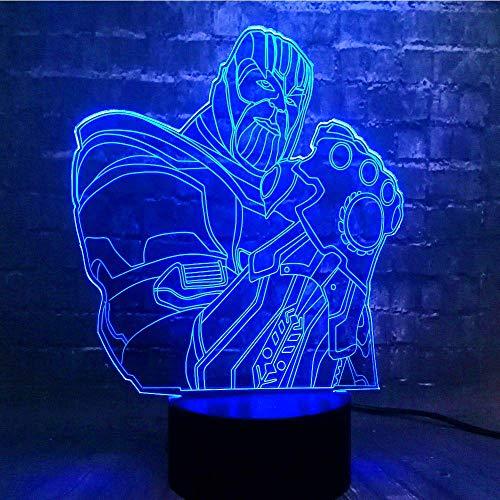 3D Luz nocturna para niños de luz nocturna lámpara para sala de estar Esquina de superhéroe Ilusión Lámpara de mesa Luces con para la decoración del partido Presentes de cumpleaños Con carga USB