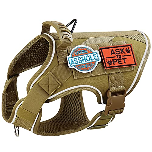 Tactical Dog Harness No Pulling Military MOLLE Pet Vest Reflective k9 Working Training Harness with Control Handle for Medium Large Dogs