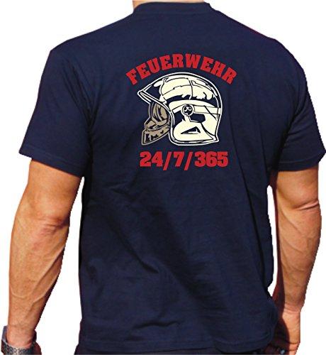 Feuer1 - Camiseta de manga corta, diseño de casco de MSA (fluorescente) y bomberos, color rojo