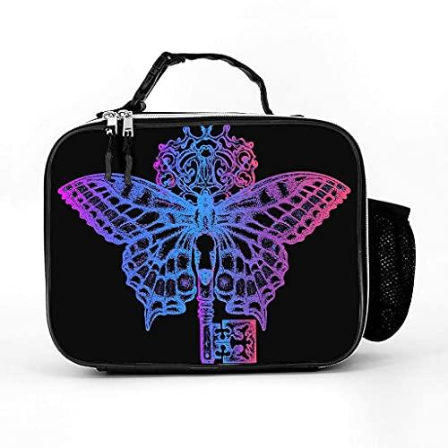 Fiambrera aislada con llave de animal y mariposa, bolsa de almuerzo suave a prueba de fugas, para oficina, escuela, color blanco, talla única