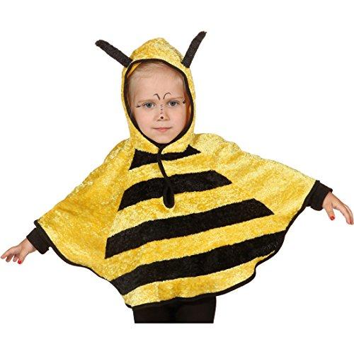 Amakando Biene Kostüm Bienchen Poncho Cape 104 cm 3-5 Jahre Bienen Kinderkostüm Bienenkostüm Kinder Karnevalskostüme Tiere Süßes Regencape Faschingskostüm Karneval Kapuzenumhang