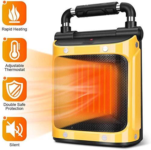 ZTKBG Elektronische kamerradiator, 1500 W, indoorverwarming met instelbare thermostaat, keramische verwarming, kantel- en oververhittingsbeveiliging, indoor radiator