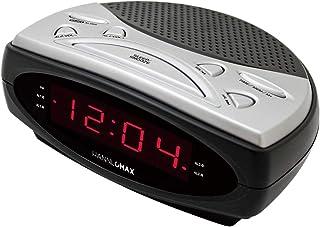 "HANNLOMAX HX-137CR Alarm Clock Radio, PLL AM/FM Radio, Dual Alarm, 0.9"" Red LED Display (Black)"