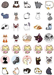 30 x Cats Mini Cupcake Toppers: 30 Uncut Colorful Eatable Round Printed Sticker Decals on Wafer Sheets, Cake Decorating, 1.4 Inch Diameter