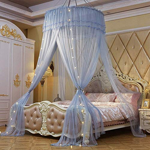 Universal Large Romantic Dome Mosquito Net Curtain Princess Bed Canopy Lace Round Tent Bedding Decor,with String Light,A,1.2 * 2.8 * 10M