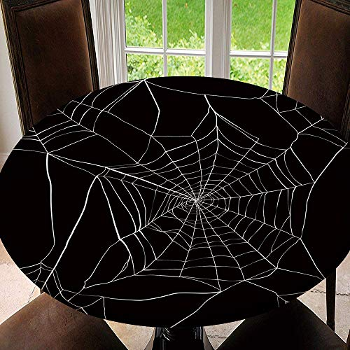 SUPNON Outdoor Tablecloth Waterproof Spillproof Polyester Table Cover Spider Web for Patio Garden Tabletop Decor SW38261 Fit for 35'-39' Table