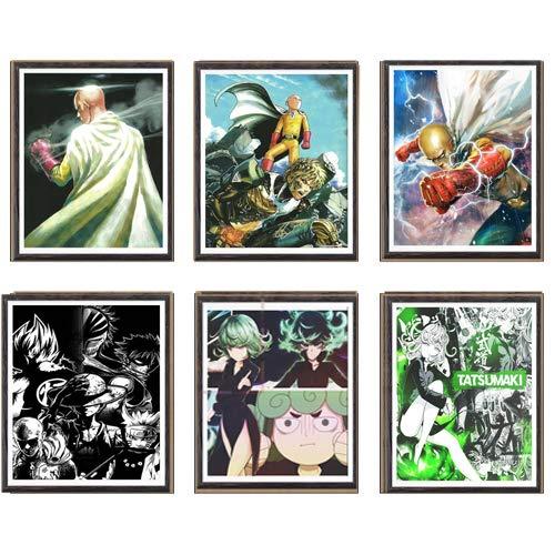 Póster de anime japonés One Punch Man Grupo de Saitama Tatsumaki Genos para pared, lienzo impreso, 8 x 10 pulgadas, sin marco, juego de 6