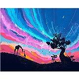 LKAZLL Paints by Numbers Scenery Night Sky 50 x 40 cm, pintura al óleo por números, set de regalo para colorear por números, lienzo