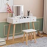 Coiffeuse blanche avec miroir à rabat et tabouret en cuir synthétique pour fille (1 miroir + 2...