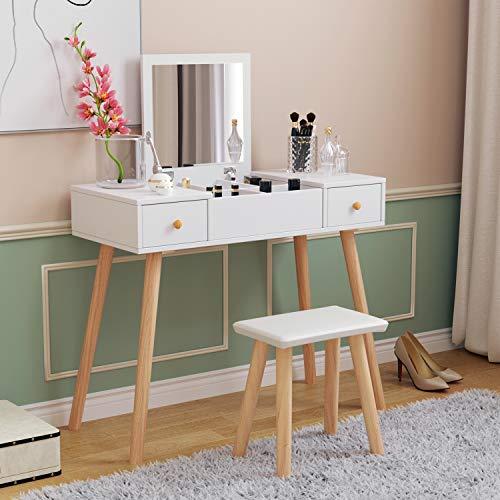 Coiffeuse blanche avec miroir à rabat et tabouret en cuir synthétique (1 miroir + 2 tiroirs)
