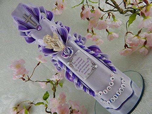 Geschnitzte Taufkerze Kommunionkerze rosa lila für Mädchen mit Schutzengel und Taufspruch inkl. Name und Datum 26 cm
