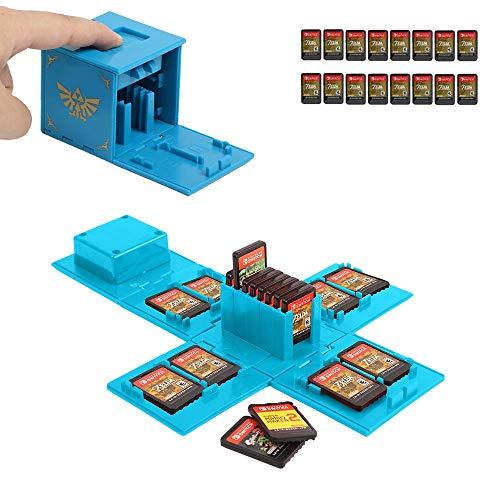 JEETA Estuche para Tarjeta de Memoria Nintendo Switch, Caja Protectora, portatarjetas para Videojuegos con 16 Ranuras para Tarjetas, Funda para Almacenamiento (Zelda Azul)