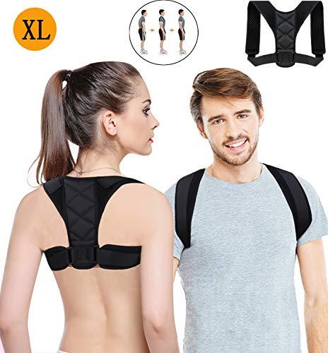 Haltungskorrektur, Verstellbarer Atmungsaktiver Geradehalter, Neopren-Rückenstütze für Frauen oder Männer - ideal zur Behandlung von Haltungsschmerzen im Rücken- und Schulterbereich (Schwarz, XL)