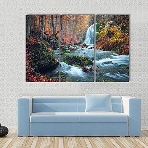 QWASD Impresión Artística 3 Piezas Lienzo De Tejido No Tejido Estampado Cascada del Cañón De Crimea 3 Piezas Decoración De Pared 50×70 Cm X 3 para Decoración del Hogar Listos para Colgar