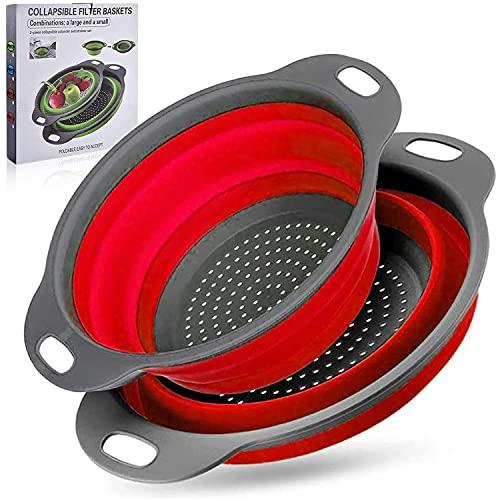 ZONSUSE Coladores Cocina,Cocina Plegable Colador de Silicona,Respetuosos del Medio Ambiente no Tóxico Fácil de Limpiar,2 Tamaños,Accesorios Cocina para Drenar Pasta,Verduras,Frutas (Rojo)