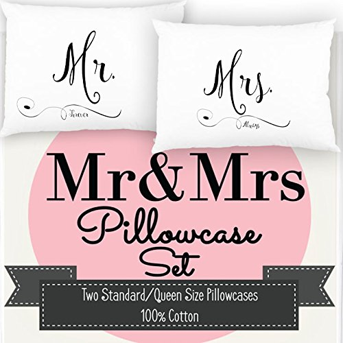 Ocean Drop Designs Mr and Mrs Pillowcase Set, Mr and Mrs Pillows, Perfect & Unique Wedding Gift 100% Cotton 300 TC
