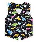 RAISEVERN Dinosaur Vest for Boys 3D Print Cute Dinosaur Waistcoat V Collar Button-Down Sleeveless Casual Suit Vest Home School Party Youth Child 6-7T