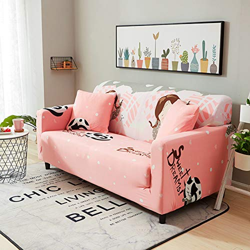 LRQY - Funda de sofá con estampado de tela elástica extensible de 1 pieza de poliéster y spandex para silla, funda de sofá, protector de muebles, 8,1 plazas: 90 a 140 cm
