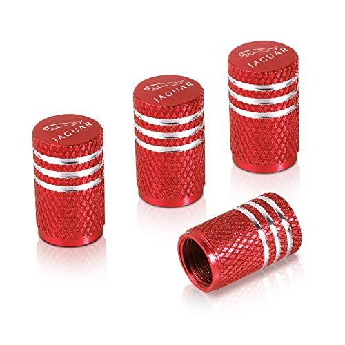 Kwen Valve Stem Caps,Tire Caps Replacement for Jaguar Accessories Car,Motorbike,Trucks,Bike and Bicycle Aluminum 4pcs (red)