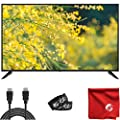 Sansui 50-Inch 4K UHD DLED Smart TV (S50P28UA) Ultra-Light Slim Built-in HDMI, USB, High Resolution Bundle with Circuit City 6-Foot High Definition 4K HDMI Cable, Microfiber Cloth and 2X Cable Ties from Sansui