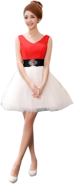 Dearta Women's ALine VNeck Short Mini Tulle Evening Dresses