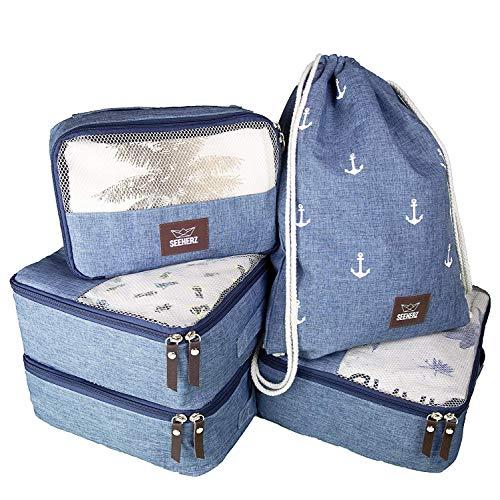 Kleidertaschen Set für Koffer/Rucksack | Packtaschen leicht klein blau groß | 5-teilig mit Turnbeutel Packing Cubes Packwürfel Koffer Organizer