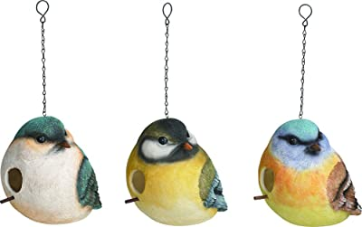 Transpac Imports, Inc. Small Bird Friends with Masks 9 x 7 inch Resin Birdhouse Set of 3