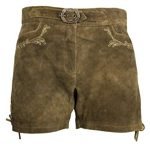 Lekra Kurze Damen Lederhose Shorts Waldsee - Hellbraun Ecru Gr. 38