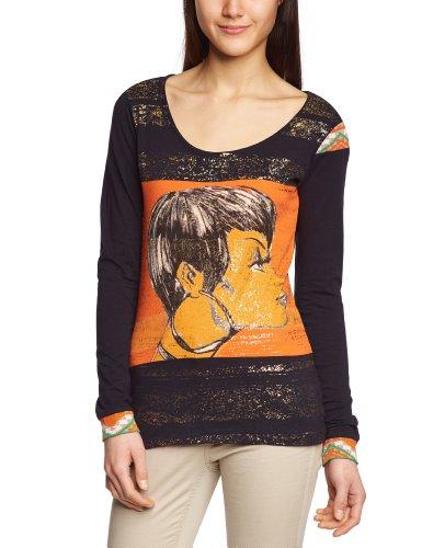 Custo - Camiseta de Manga Larga para Mujer, Talla 42/44, Color (Sky Stripe 3142)