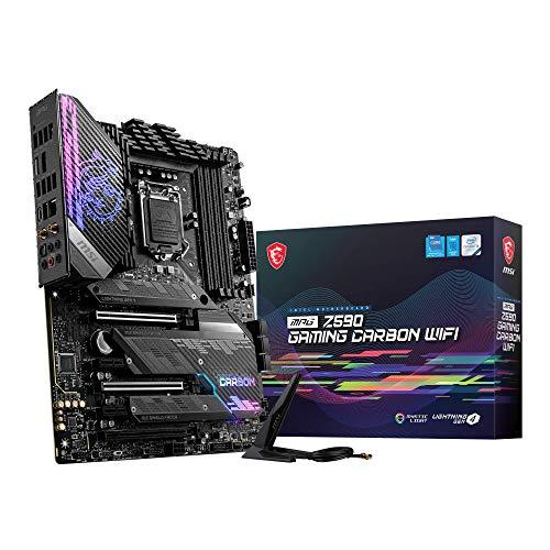 MSI MPG Z590 GAMING CARBON WIFI Placa Base ATX - Soporta Procesadores Intel Core 11th Gen, LGA 1200 - Mystic Light, 75A VRM, DDR4 Boost (5333MHz/OC), 2 x PCIe 4.0 x16, 3 x M.2 Gen4/3 x4, Wi-Fi 6E
