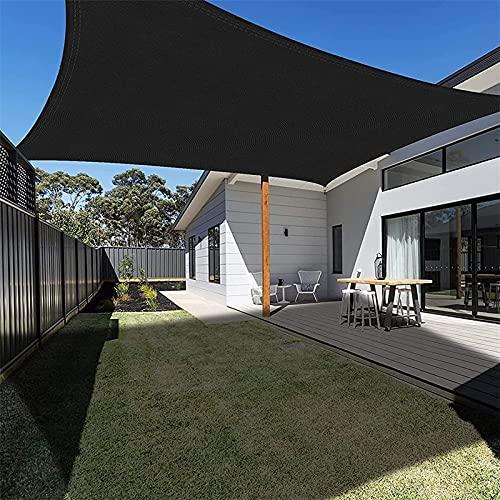 KOUDU Vela de Sombra Rectangular 5x6m Transpirabilidad, Toldo Vela IKEA Impermeable, para Exteriores, jardín, Negro