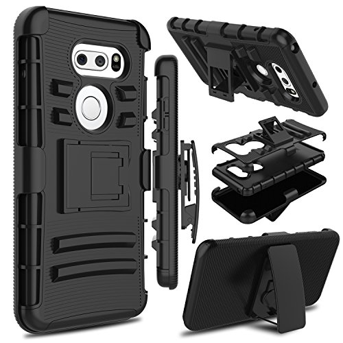 LG V35 ThinQ Case, LG V30 Case, LG V30s ThinQ Case, Zenic Heavy Duty Shockproof Full-Body Protective Hybrid Case Cover with Swivel Belt Clip and Kickstand for LG V35/LG V30 Plus (Black)