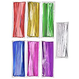 "Mini Skater 700pcs 4"" Metallic Twist Ties - 7 Colors ,Embellishment Christmas Atmosphere 3 Length:About 4 inch 7colors : red ,hot pink, green,silver,Purple,blue,yellow package content: 700 pcs, per color 100pcs"