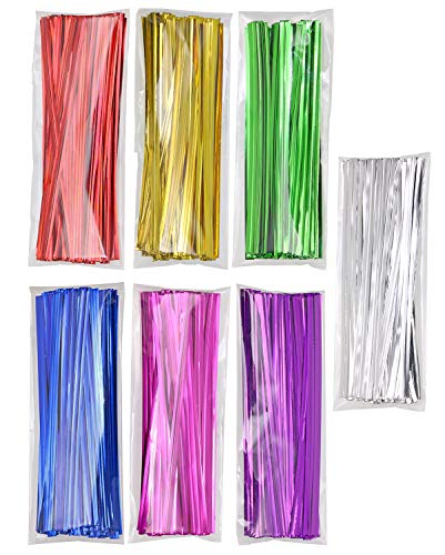 Mini Skater 700pcs 4' Metallic Twist Ties - Colored (7 Colors)
