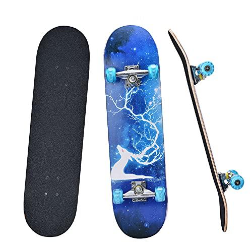 "YUDOXN Completo Skateboard para Principiantes, Adolescentes, niños, niñas.31""x 8"" Skateboard 7 Capas Monopatín de Madera de Arce con rodamientos ABEC-7 Tabla de Skateboard, Longboards (Deer Blue) ✅"